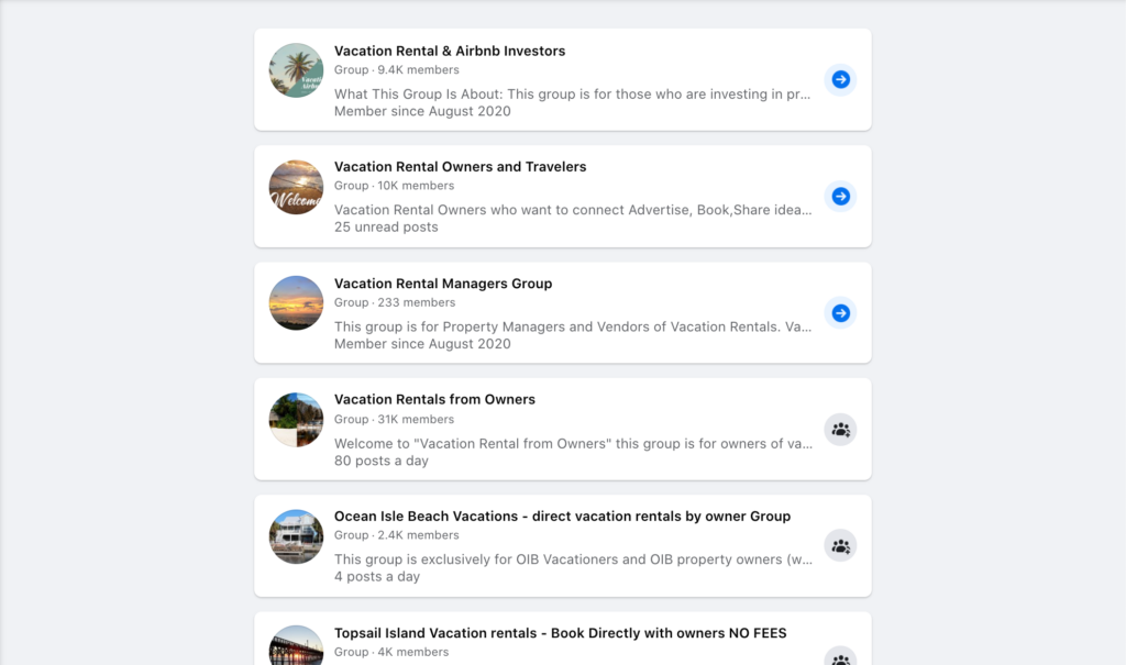 list of vacation rental facebook groups